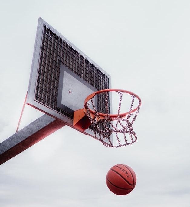 Basketball going through Basketball Hoop